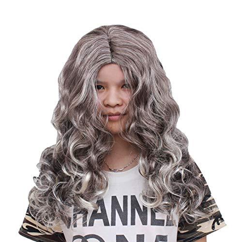 nihiug Cos Halloween Mascarade Perruque Bar Divertissement Lieu Décoration Fantôme Festival Sorcière Cheveux Ondulés,Grey-OneSize