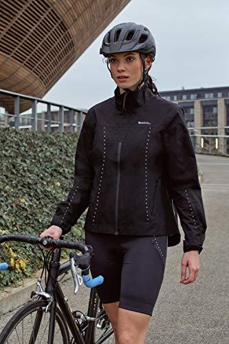 Mountain Warehouse Pro Chaqueta con 2,5 Capas para Mujer - Abrigo Impermeable, Transpirable, Cortaviento, Costuras Selladas - para Ciclismo, Correr, Senderismo Negro 40