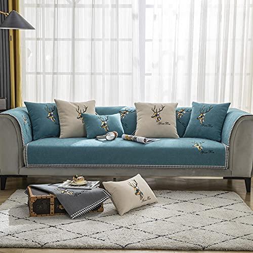 KENEL rutschfest Sofa Überwürfe Cover, Sofahusse Couch Auflage Cover Bestickter Sofa-Kissen-Handtuchabdeckung für alle Jahreszeiten-70 * 180 cm_Grün-Verkauft in stück