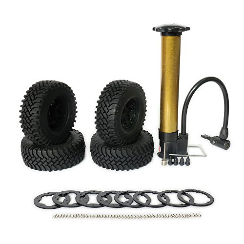 RCAWD Rc Wheel Tire Rim Air-Filled Inflated 1.9 Bead Lock System for 1:10 Rock Crawler/Monster Truck Inflator Pump Included Terrain Mud Tread 8 Spoke 4Pcs(Shipped Locally)(Black)