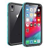 Fansteck iPhone XR Waterproof Case, IP68 Waterproof/Snowproof/Shockproof/Dirtproof, Full-Body Protective Case with Built-in Screen Protector (Black/Aqua Blue)