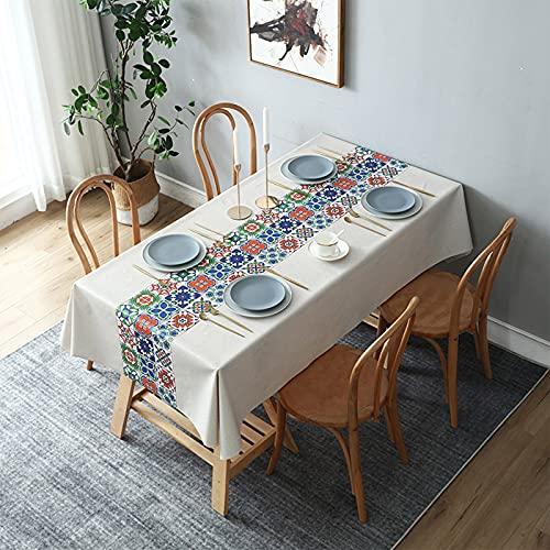 Mantel de PVC, impermeable, a prueba de aceite, mantel libre de lavado, utilizado para cocina, comedor, estera de picnic, uso en interiores y exteriores, decoración de escritorio,Style7,80x120cm