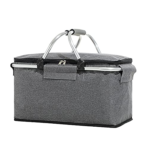 ZXCFTG Bolsa térmica aislada, 30 L, portátil, plegable, cesta de picnic con...