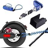 Scooter Eléctrico Cerradura del Freno de Disco de Seguridad para Xiaomi Mijia M365 Ruedas de Bicicleta Armario con Cuerda de Recordatorio (Azul)