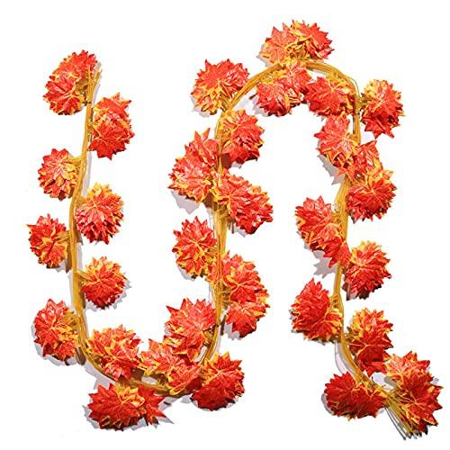 EFGS Pared de follaje de 30 Hojas de Arce Rojo, césped de Plantas Artificiales de 230 cm, telón de Fondo de césped de 60 artículos para el hogar jardín de Arco de Boda al Aire Libre