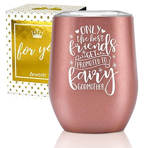 Cadeaux de marraine Onebttl, tasse à vin en acier inoxydable pour proposition de meilleur ami, tante, soeur marraine, avec Best Friends citation-Or rose