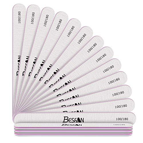 BESFAN 16PCS Nagelfeilen 100/180, Nagelfeilen Doppelseitige, Professionelle Einweg Nagelfeile, Nagelfeilen für Gelnägel, Schmirgel Boards für natürliche Nägel und Gelnägel Verschleißfest Waschbar,Grau