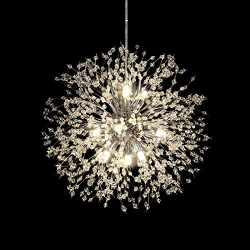 HUOKU Chandelier Modern Crystal Pendant Lighting,Chrome Dandelion Firework Chandelier,Ceiling Pendant Lamp for Dining Room, Bedroom, Kitchen, Living Room(9-Lights,Dia 23.5 Inch)