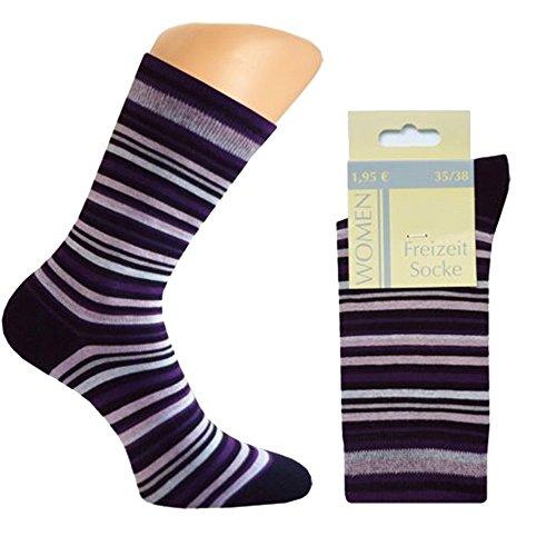 Art-of-Baan 10 Paar Damen Socken Freizeitsocken geringelt Rot & Lila 35-36-37-38
