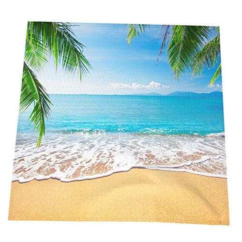 Ye Hua Tropical Beach Palm Tree Tischsets, hitzebeständige Tischsets Fleckenresistent Anti-Rutsch-Waschbar Buntes 2er-Set