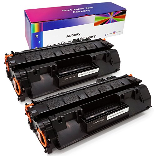 Adouiry Compatible Toner Cartridge Replacement for HP 05A CE505A Toner for HP Laserjet P2035 P2035n P2050 P2055 P2055d P2055dn P2055x Pro 400 m401n m401dne m401dw M425dn M425dw Printer (Black, 2-Pack)
