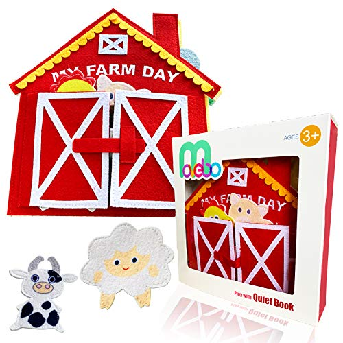 MOVEBO- Quiet Book Baby Book (My Farm Day),Farm Animals Activity Busy Book,Felt Book ,Quiet Book for Toddlers and Children