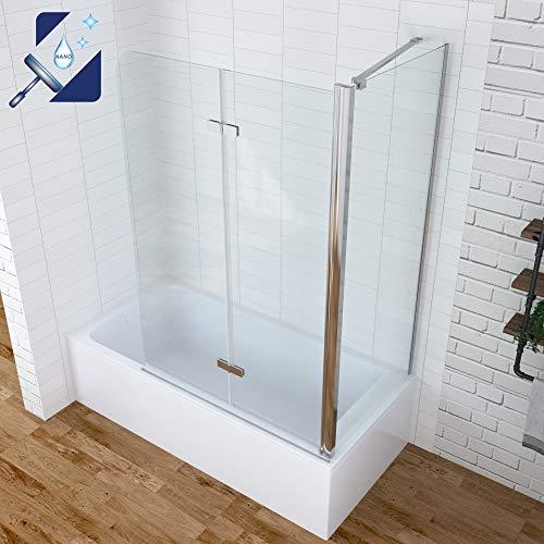 AQUABATOS® Eck Duschtrennwand Duschwand für Badewanne faltbar Badewannenaufsatz 120x140cm mit Seitenwand 70x140cm aus 5mm ESG Sicherheitsglas Nano-Beschichtung