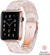 Light Apple Watch Band - Fashion Resin iWatch Band Bracelet Compatible with Copper Stainless Steel Buckle for Apple Watch Series 4 Series 3 Series 2 Series1 (Flower Pink, 38mm/40mm)
