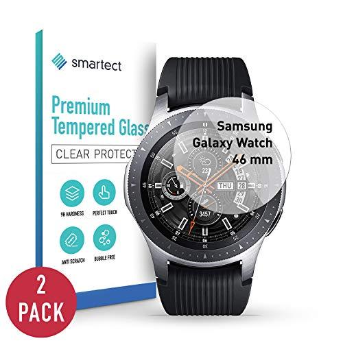 smartect Panzerglas kompatibel mit Samsung Galaxy Watch 46 mm [2 Stück] - Displayschutz mit 9H Härte - Blasenfreie Schutzfolie - Anti Fingerprint Panzerglasfolie