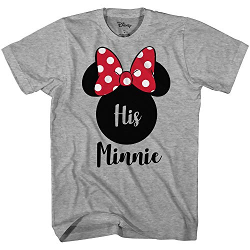 Disney His Minnie Her Mickey Couples Valentines Adult Funny Disneyland Graphic T-Shirt(Minnie Heather Grey,Large)