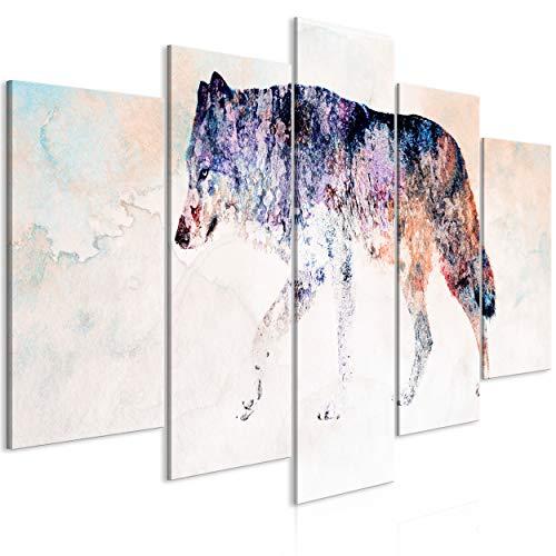 decomonkey Bilder Tiere Abstrakt 200x100 cm 5 Teilig Leinwandbilder Bild auf Leinwand Wandbild Kunstdruck Wanddeko Wand Wohnzimmer Wanddekoration Deko Wolf Street Art bunt