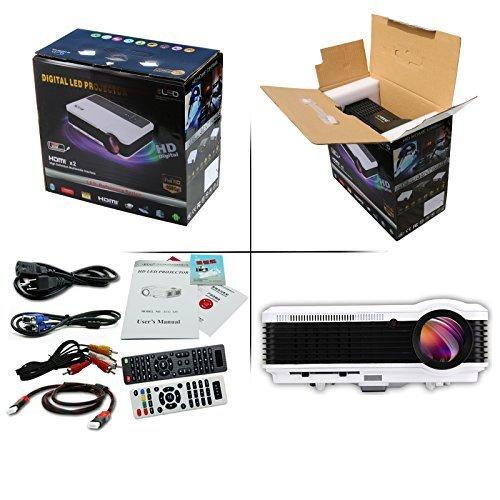 EUG Video Projector, 3000Lúmenes Home Cinema Theater Multimedia Digital Proyectores, lámpara LED pantalla LCD película proyector, HD 1080P 720P HDMI USB listo, para TV DVD Smartphone PC consolas de videojuegos, negro