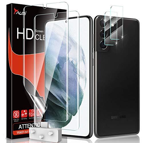 TAURI 4 Pezzi Pellicola Protettiva Samsung Galaxy S21 Plus, 2 Pezzi TPU Film Pellicola Protettiva + 2 Pezzi Vetro Temperato Protezione Fotocamera, Anti Graffio, Ultra Trasparente