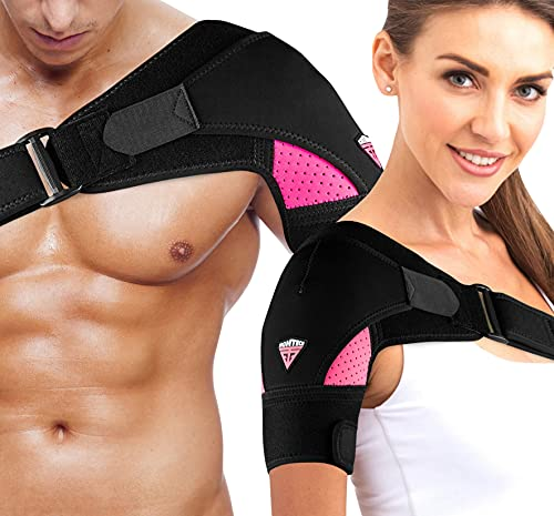 FIGHTECH Shoulder Brace for Men and Women | Compression Support for Torn Rotator Cuff and Other Shoulder Injuries | Left or Right Arm (Pink, Large/X-Large)