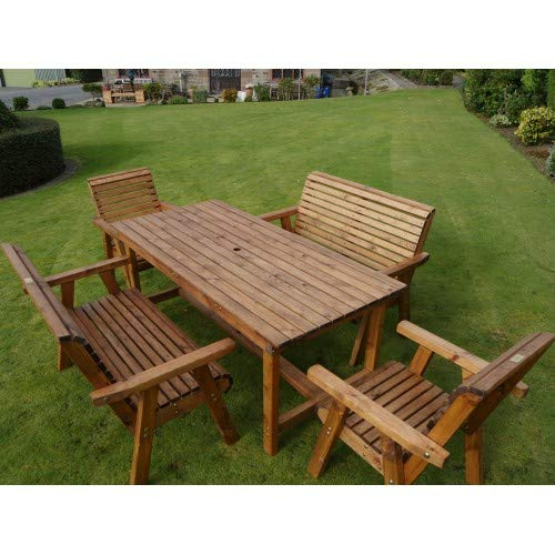 Riverco 6ft Table + 2 Chairs + 2 Benches - 6 Seater Patio Set - Premium Outdoor Garden Furniture