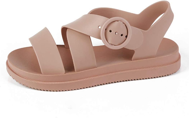 Women Flat Gladiator Open Toe Buckle Soft Jelly Sandals Casual Summer Flat Platform Girl Beach shoes