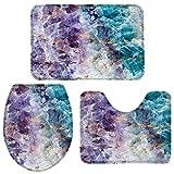Juego de alfombras de baño de 3 piezas con textura de mármol...