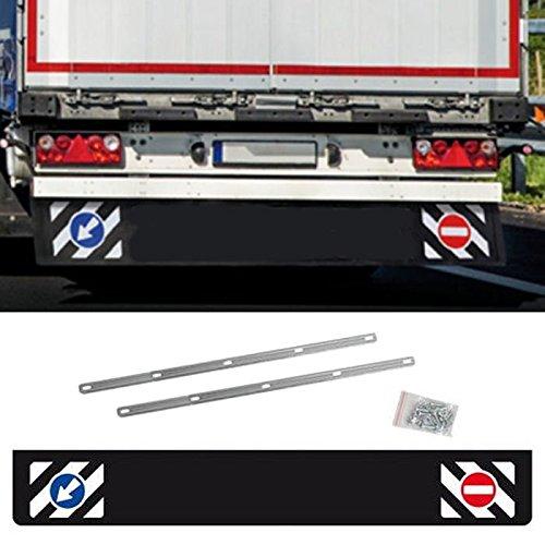 AutoScheich® Universal Schmutzfänger hinten lang 240x35cm LKW Anhänger Auflieger Schutz Spritzlappen mit Verkehrszeichen