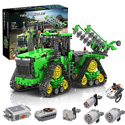 KEAYO Technik Ferngesteuert Traktor, Technik Groß Motorisierter Traktor Modell für John Deere 9620 RX, MOC Klemmbausteine Bauset Kompatibel mit Lego Technik Traktor