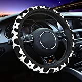 Da66jj Steering Wheel Covers for Car, Cow Print Car Steering Wheel Cover for Women & Girls & Men, Universal 15 Inches Car Accessories