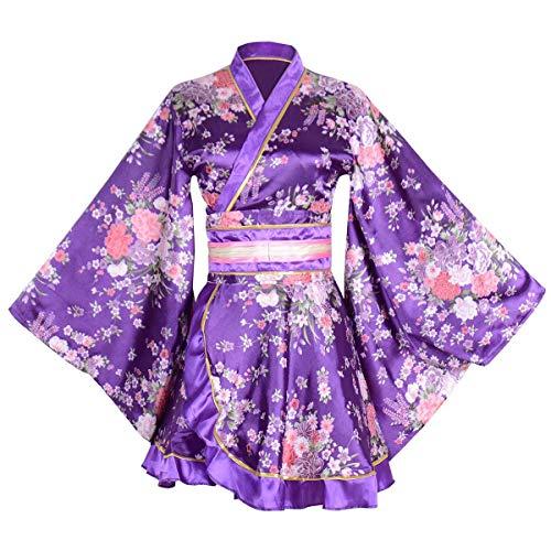 Kimono Bathrobe Costume Japanese Traditional Yukata Cosplay Women's Sexy Sakura Pattern (Purple)