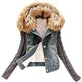 ZhuiKun Corto Chaquetas Mujer Jacket De Mezclilla Abrigo Denim Jackets de Invierno como Imagen S