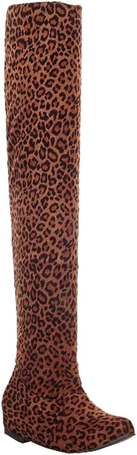 Leopard jackboot stretch high boots knight boots single boots the women boots