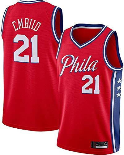 BMSGM Camisetas para Hombre-NBA Philadelphia 76Ers # 21 Joel Embiid Camiseta De Baloncesto Sin Mangas Camiseta Deportiva, Malla De Tela Transpirable,A,S(165~170CM/50~65KG)