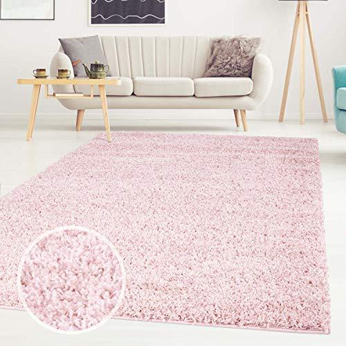 ayshaggy Shaggy Teppich Hochflor Langflor Einfarbig Uni Rosa Weich Flauschig Wohnzimmer, Größe: 200 x 200 cm Quadratisch