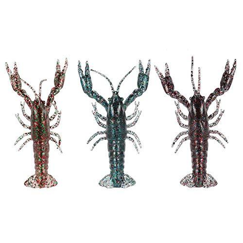 Tuimiyisou Langosta Suave Cebo Artificial Langosta de Pesca señuelo Brillante Suave cangrejos señuelos para 3pcs Mar del Agua Dulce