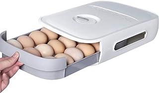 Beowanzk Le contenant à œufs avec couvercle peut contenir jusqu'à 18 œufs en plastique Les cartouches de stockage d'œufs d...