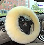 EDEALYN Diameter 15' Universal Silk ice PU Leather Antiskid Auto Car Steering Wheel Cover Protector Case Four Seasons General (Black)