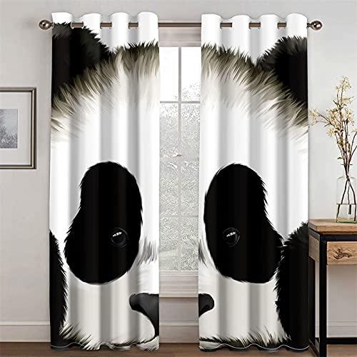 YUNSW Cortina De Fibra De Poliéster con Impresión Realista En 3D Y Aislamiento Térmico para Sala De Estar Y Dormitorio, Juego De 2 (Total Width) 234x(Height) 230cm