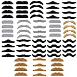 72 Pieces Self Adhesive Fake Mustaches Set,Assorted Novetly Mustaches Party Supplies,Fake Mustache for Halloween,Masquerade Party and Performance
