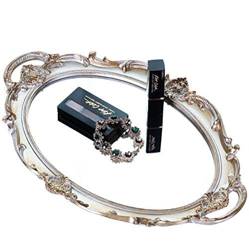 "Zosenley Polyresin Ellipse Antique Decorative Mirror Tray, Makeup Organizer, Jewelry Organizer, Serving Tray, 9.8""x 14.6"", Golden Silver"
