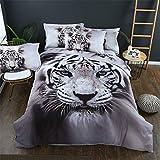 Stillshine Ropa de Cama Niño 90 cm 3D Tigre Animal Cabeza de Tigre Imprimiendo Blanco Negro Gris Funda nórdica 180x220 y Funda de Almohada 50x75