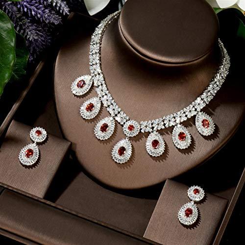 LIYDENG Joyas Charm Hermosa Cubic Circon Color Dorado Blanco New Crystal Pendientes Collar Conjunto para Mujeres Novia Joyería Regalo (Color : Red Color)