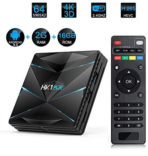 WXJHA Android 9.0 Receptor de TV, Caja androide de 5 GHz 2 GB Bluetooth RAM16GB ROM de Doble WiFi 2.4Ghz / RK3318 Quad Core de 64 bits 3D / 4K Smart Set Top Box