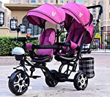JINHH Triciclo Bebe Evolutivo, Carrito Doble para niños con Triciclo Doble Doble Asiento Giratorio...