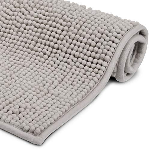 Beautissu Badematte rutschfest BeauMare WR Badezimmerteppich Hellgrau 70x120 cm - WC Badteppich flauschige Bodenmatte oder Badvorleger für Dusche, Badewanne und Toilette - für Fußbodenheizung geeignet
