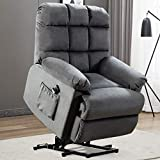 ANJ HOME Power Lift Recliner Chair for Elderly, Heavy Duty and Safety Motion Lift Chair Reclining Mechanism, Antiskid Fabric Living Room Chair with Overstuffed Back and Arm, Bluish Grey