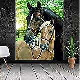 Cuadro grande cuadro de arte de pared de lienzo de caballo grande para decoración de animales interiores cuadro para impresiones artísticas caseras 60x80 CM (sin marco)