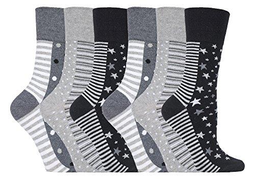 Gentle Grip - 6 Paar Damen Ges&heitssocken Diabetiker Druckfreie Spitze Handgekettelt Baumwollanteil Blumen Socken 37-42 EUR (GG99 Mono Spot/Stripe)