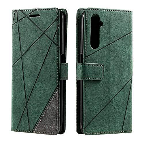 Hülle für Realme 6 Pro, SONWO Premium Leder PU Handyhülle Flip Hülle Wallet Silikon Bumper Schutzhülle Klapphülle für Realme 6 Pro, Grün